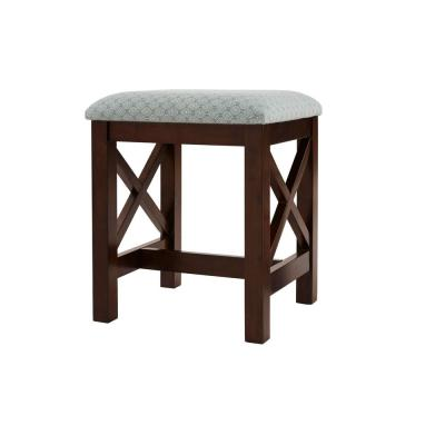 Home Decorators Collection Chocolate Upholstered Wood Vanity Stool (16 in W. X 19 in H.)
