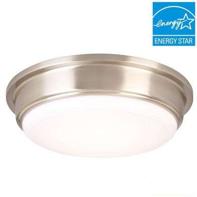 13 in. 180-Watt Equivalent Brushed Nickel Integrated LED Flushmount with Frosted Acrylic Shade