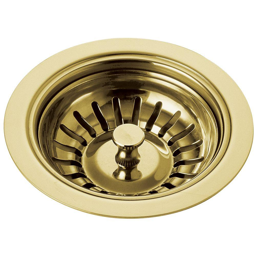 classic kitchen 4 in. sink flange and strainer in polished brass