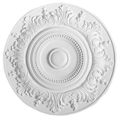 European Collection 18-1/2 in. x 1-3/8 in. Acanthus Foliage and Rounded Beads Polyurethane Ceiling Medallion