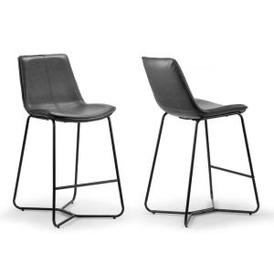 Amery 25.75 in. Grey Iron Frame Vintage Faux Leather Counter Stool (Set of 2)