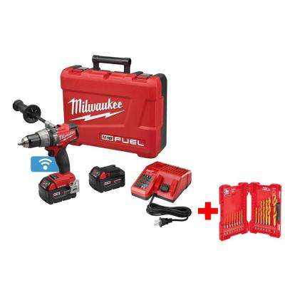 M18 FUEL with ONE KEY 18-Volt Cordless Lithium-Ion Brushless 1/2 in. Hammer Drill/Driver Kit with Titanium Drill Bit Kit