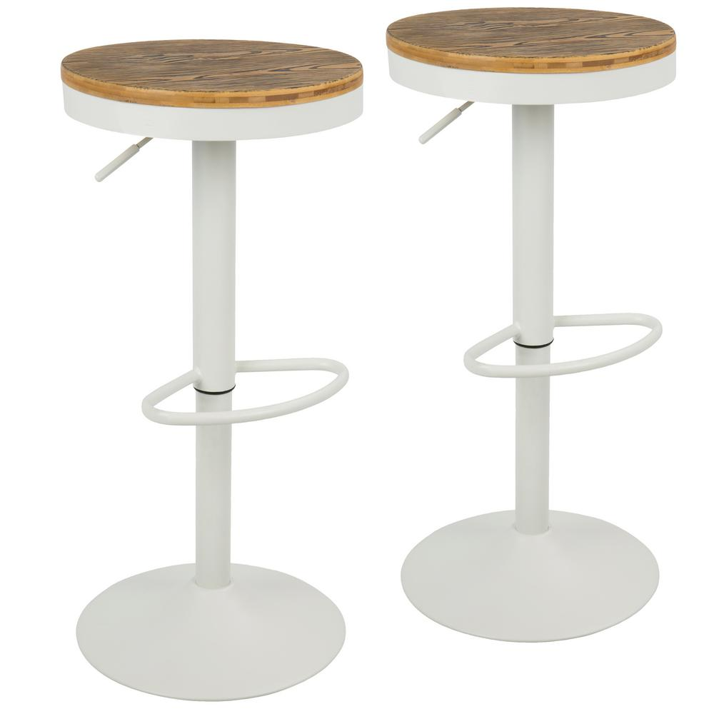 Lumisource Dakota Adjustable Height White Bar Stool With Swivel (Set Of 2)