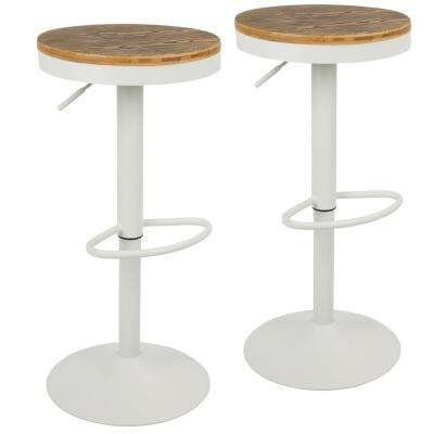 Dakota Adjustable Height White Bar Stool with Swivel (Set of 2)