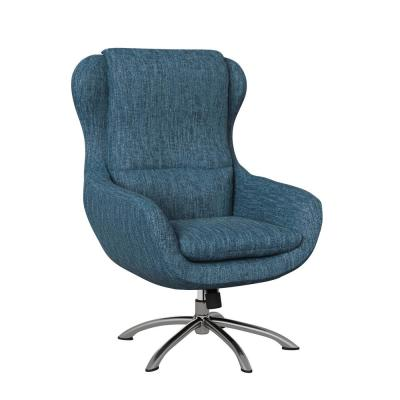 Selena Modern Swivel Rocking Chair in Caribbean Blue Herringbone
