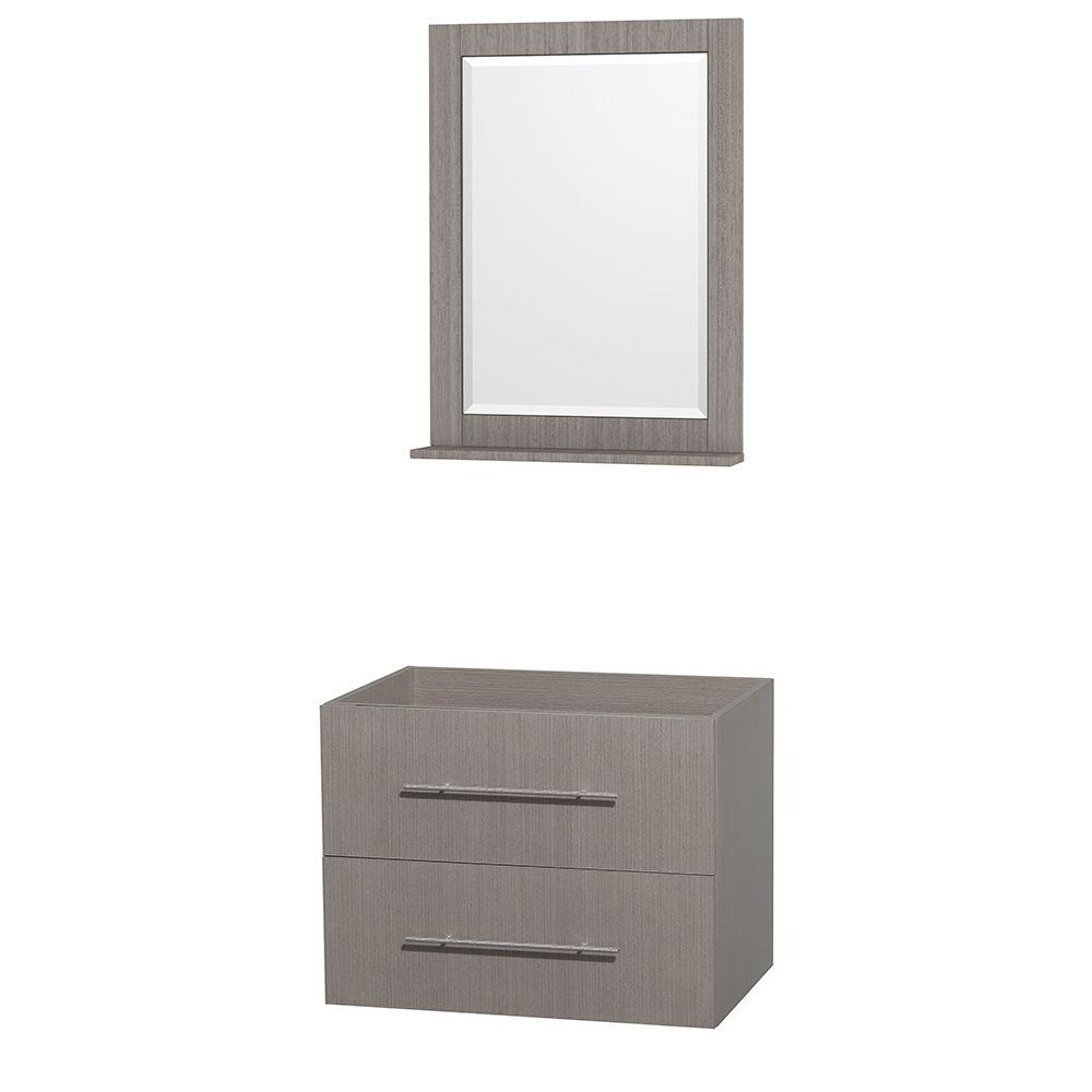 Centra 29 in. Vanity Cabinet with Mirror in Gray Oak