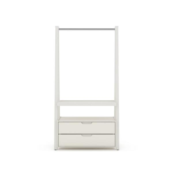 Luxor 2-Drawer Off White Mid-Century Modern Open Wardrobe Armoire Closet 105HD4