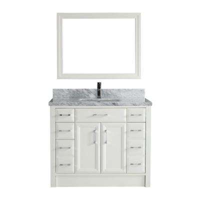 Calais 42 in. W x 22 in. D Vanity in White with Marble Vanity Top in Gray with White Basin and Mirror