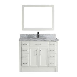 Studio Bathe Calais 42 In W X 22 In D Vanity In White With Marble Vanity Top In Gray With
