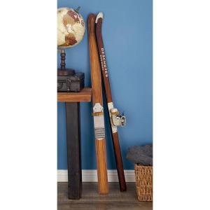55 inch Decorative Pine Wood and Iron Ski Boot Sculpture by