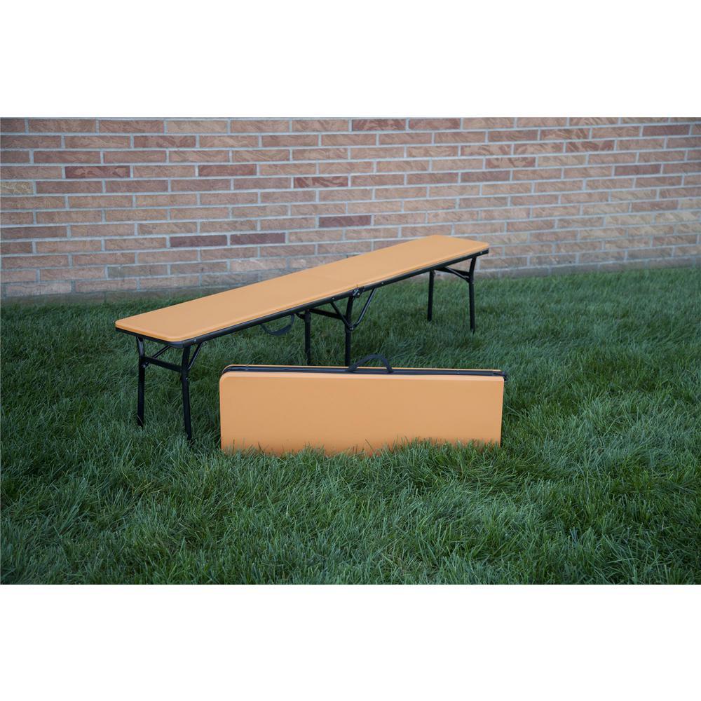 Admirable Cosco 73 In Orange Plastic Portable Folding Banquet Table Set Of 2 Dailytribune Chair Design For Home Dailytribuneorg