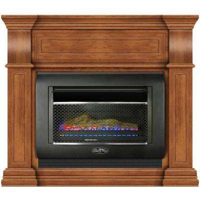 44 in. Ventless Dual Fuel Gas Wall Fireplace in Toasted Almond with Thermostat, Model#DF300L-M-TA