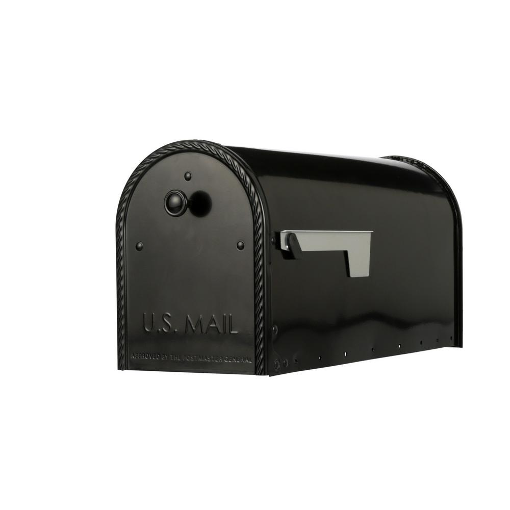 Gibraltar Mailboxes Edwards Black Steel Post-Mount Mailbox Large with  Decorative Door