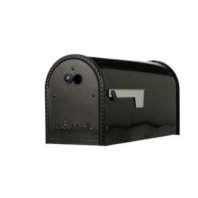 Edwards Black Steel Post-Mount Mailbox Large with Decorative Door
