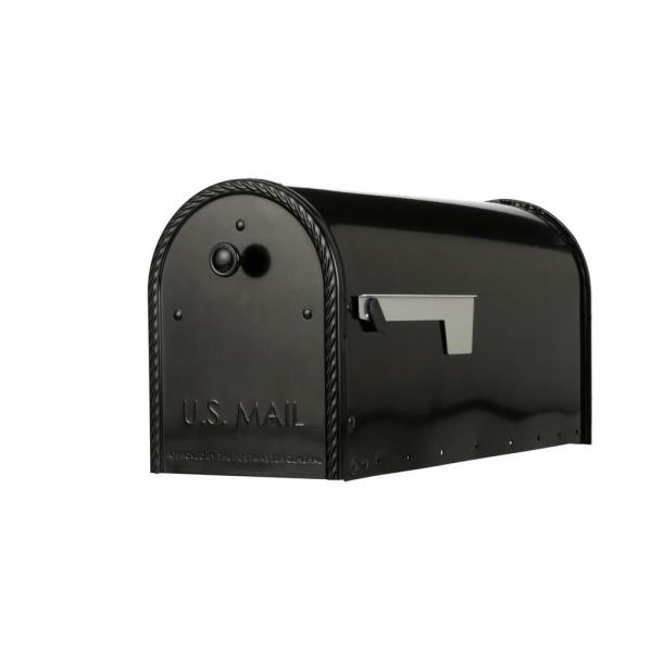 Edwards Large, Steel, Post Mount Mailbox, Black