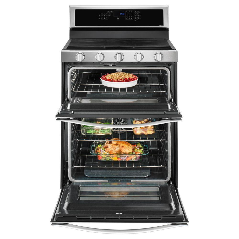 whirlpool 6 0 cu  ft  double oven gas range with center oval burner in  stainless steel-wgg745s0fs - befail