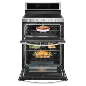 Whirlpool 60 Cu Ft Double Oven Gas Range With Center Oval Burner