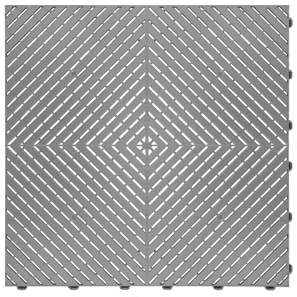 Swisstrax 15.75 in. x 15.75 in. Silver Ribtrax Smooth ECO Flooring (6-Tile/pack) (10 sq. ft.)