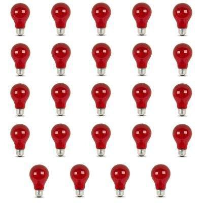 25-Watt Equivalent A19 Medium E26 Base Dimmable Incandescent Red Colored Glass Light Bulb (24-Pack)