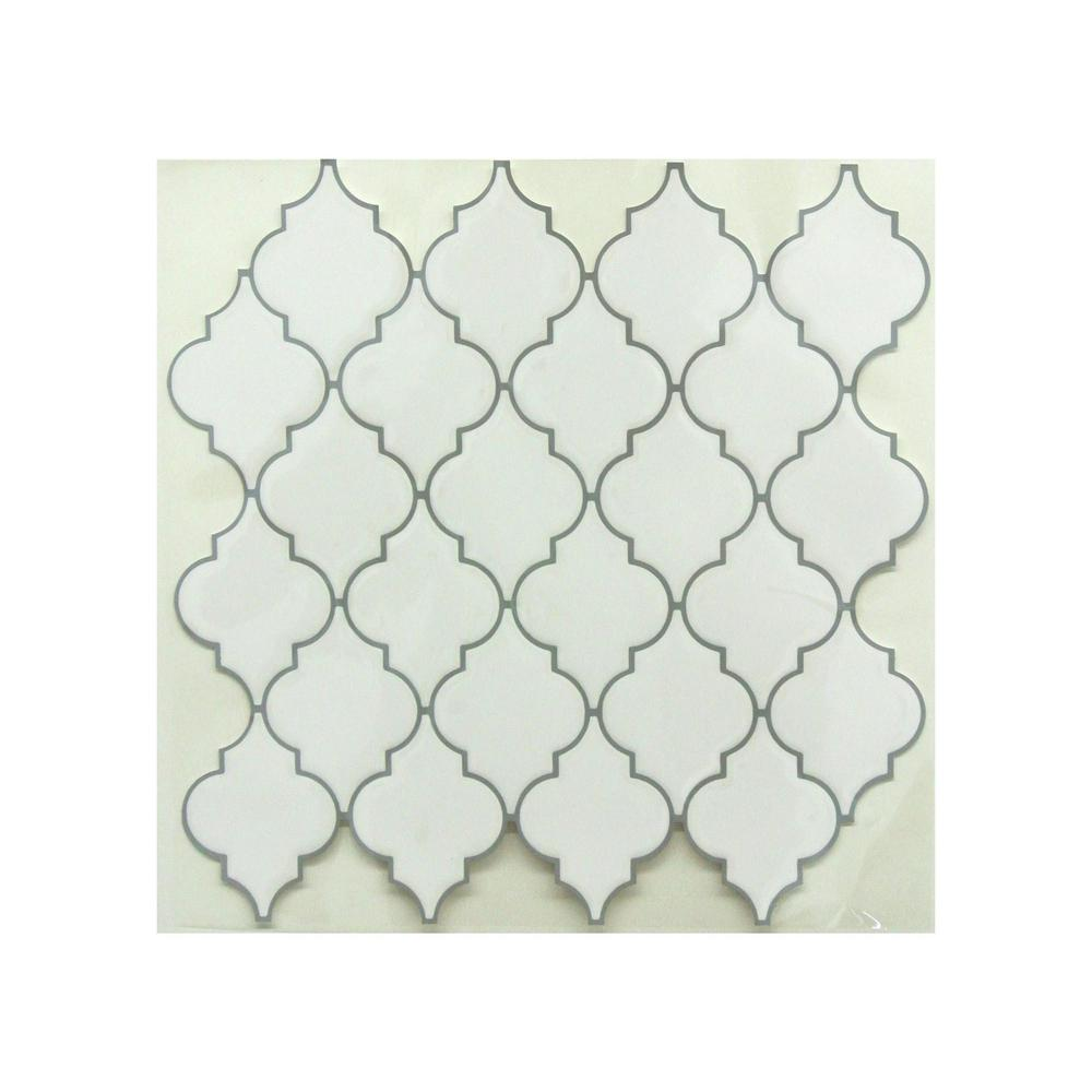 10.5 in. x 10.5 in. Arabesque Peel and Stick Tiles (4-Pack)