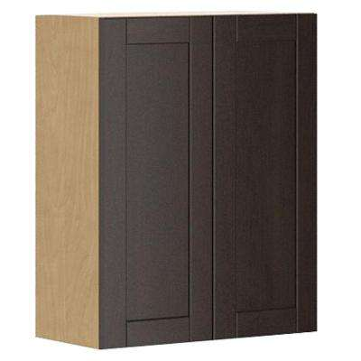 Ready to Assemble 24x30x12.5 in. Barcelona Wall Cabinet in Maple Melamine and Door in Dark Brown