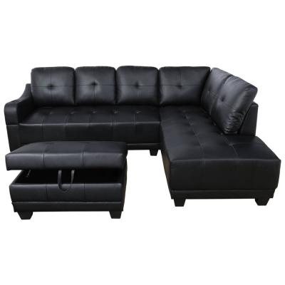 Mike Black Right Facing Sectional Sofa with Ottoman