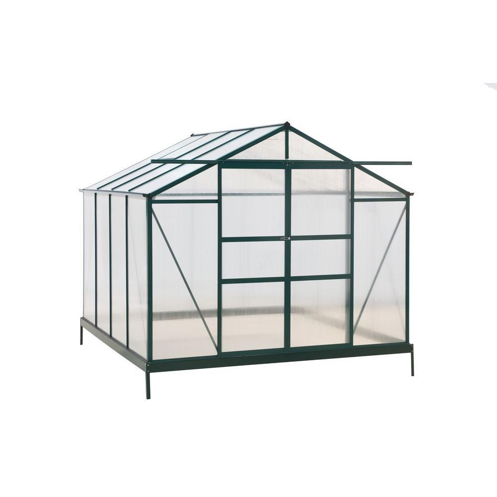 96 in. W x 96 in. D x 80.4 in. H Aluminum Green Double Sliding Door Greenhouse