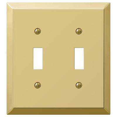 Metallic 2 Toggle Wall Plate - Polished Brass Steel