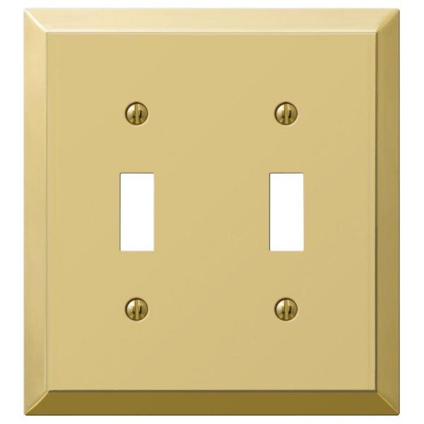 Hampton Bay Metallic 2 Gang Toggle Steel Wall Plate Polished Brass 163ttbrhb The Home Depot