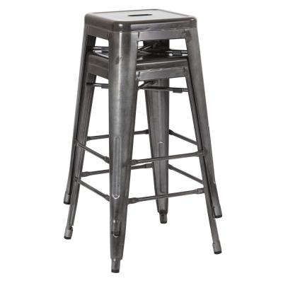 Bristow 26 in. Matte Galvanized Antique Metal Barstools in (2-Pack)