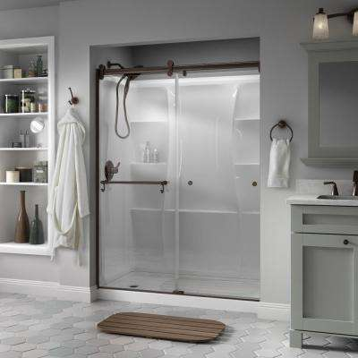 Portman 60 in. x 71 in. Semi-Frameless Contemporary Sliding Shower Door in Bronze with Clear Glass