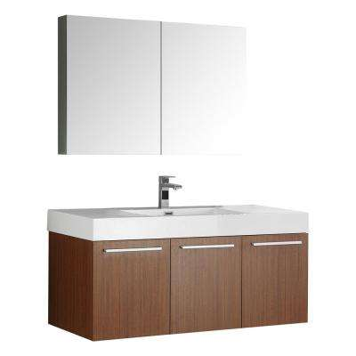 Vista 48 in. Vanity in Teak with Acrylic Vanity Top in White with White Basin and Mirrored Medicine Cabinet