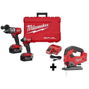 Milwaukee M18 FUEL 2-Tool Hammer Drill/Impact Driver Combo Kit + Milwaukee M18 FUEL 18-Volt Lithium-Ion Brushless Cordless Jig