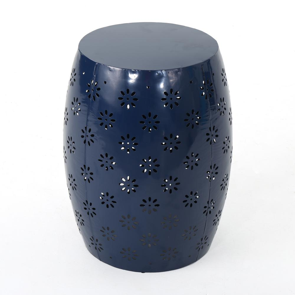 Noble House Abigail Dark Blue Round Metal Outdoor Side