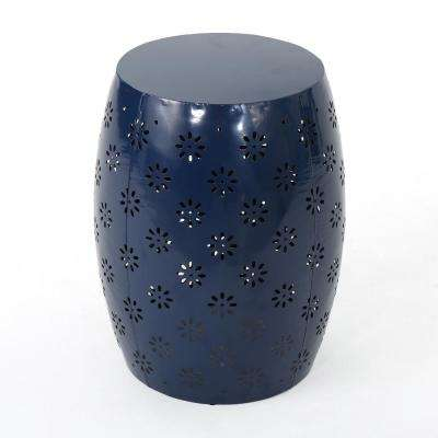 Abigail Dark Blue Round Metal Outdoor Side Table