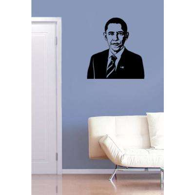 22.6 in. x 24 in. Black US President Obama Removable Wall Decal
