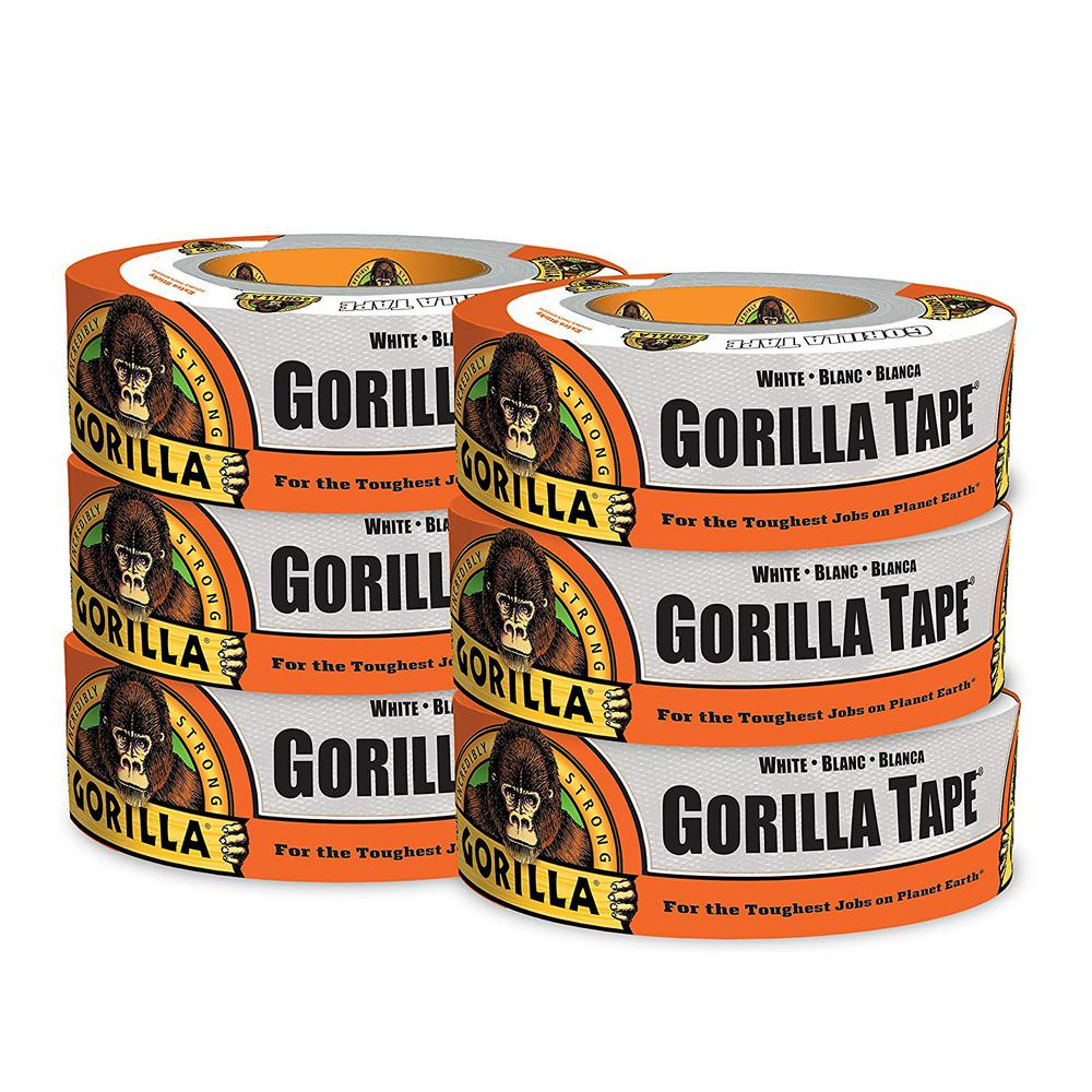 """1.88/"""" x 30 yd Pack of 2 White, Gorilla Tape White Duct Tape"""
