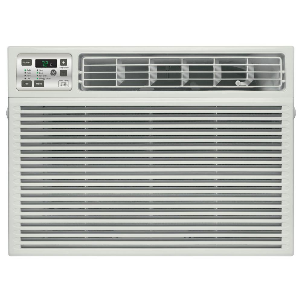GE 11,600 BTU 230-Volt Electronic Heat/Cool Room Window Air Conditioner, Gray