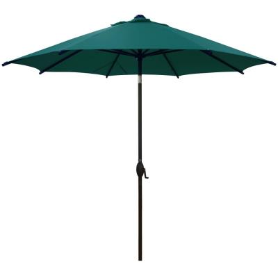 9 ft. Market Patio Umbrella Steel Pole with Auto Tilt and Crank, Dark Green (8-Ribs)