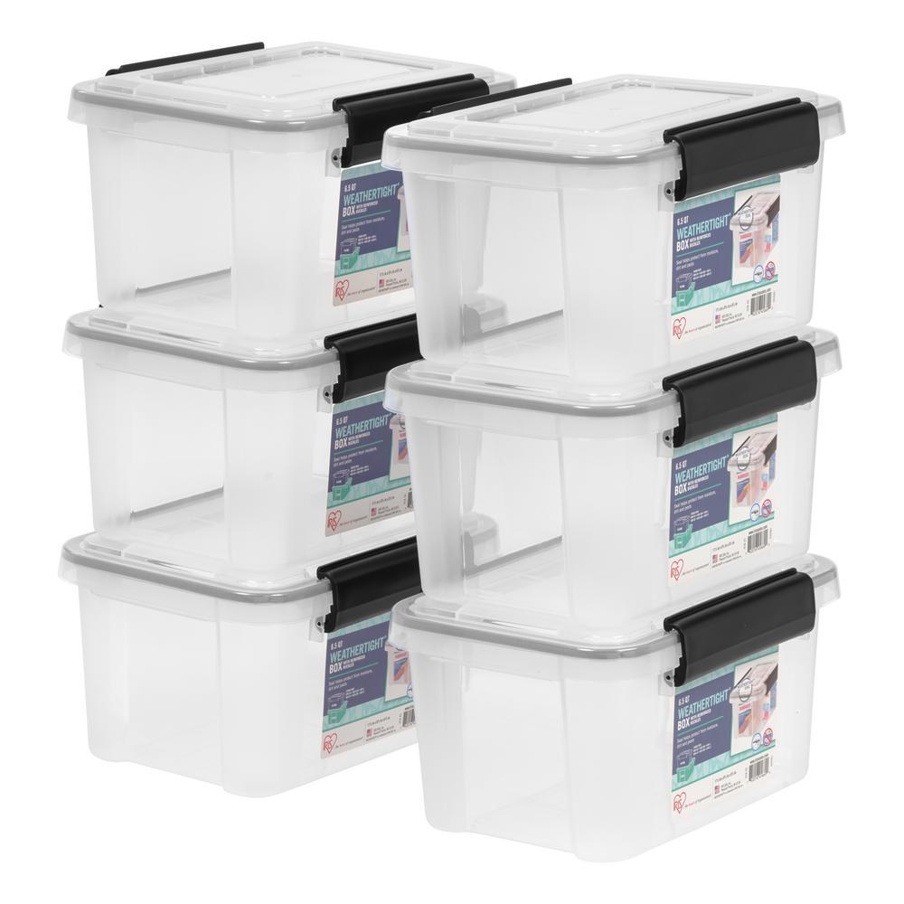 IRIS 65 Qt WEATHERTIGHT Storage Tote in Clear 6 Pack 586370
