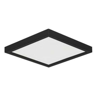 Square Slim Disk Length 7 in. Black New Construction Recessed Integrated LED Trim Kit Black Fixture 3000K Warm White