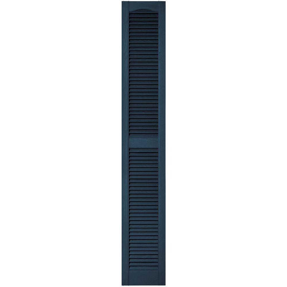 Builders Edge 12 in. x 75 in. Louvered Vinyl Exterior Shutters Pair in #036 Classic Blue