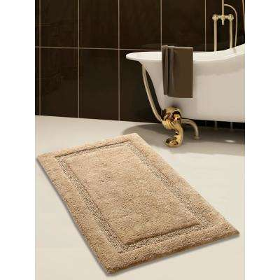 34 in. x 21 in. Cotton Bath Rug in Beige