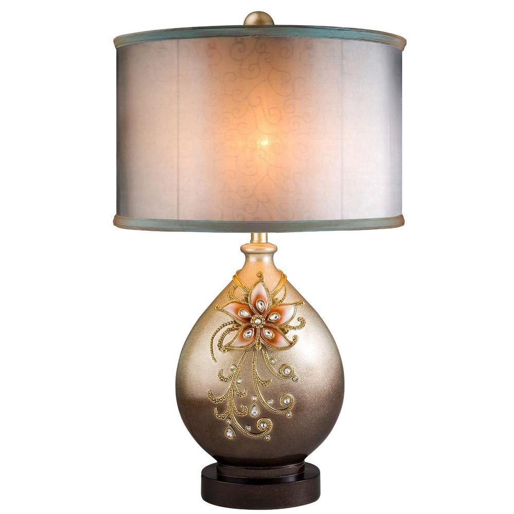 ORE International 30 In. Multicolored/Sapphire Rose Table Lamp
