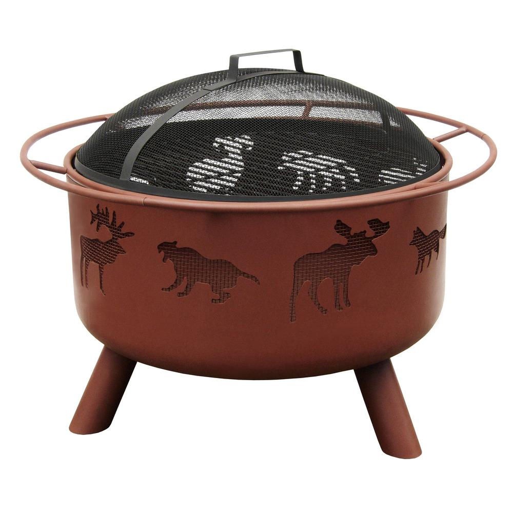 LANDMANN 24 in. Big Sky Wildlife Fire Pit in Georgia Clay with Cooking Grate