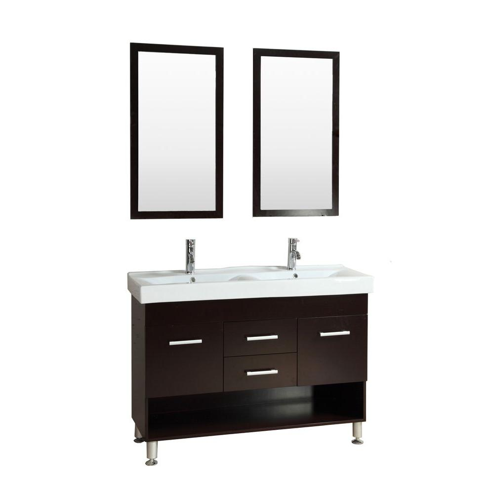 Kokols bariel 48 in double vanity in espresso with for 48 inch mirrored bathroom vanity