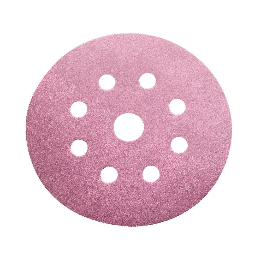5 in. 100-Grit 9-Hole Sanding Disc with Hook 'n Loop Backing