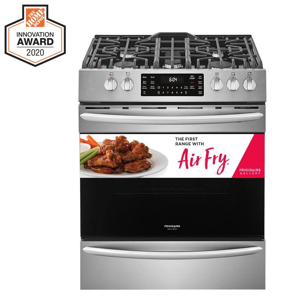 FRIGIDAIRE GALLERY 30 in. 5.6 cu. ft. Front Control Gas Range with Air Fry in Smudge-Proof Stainless Steel