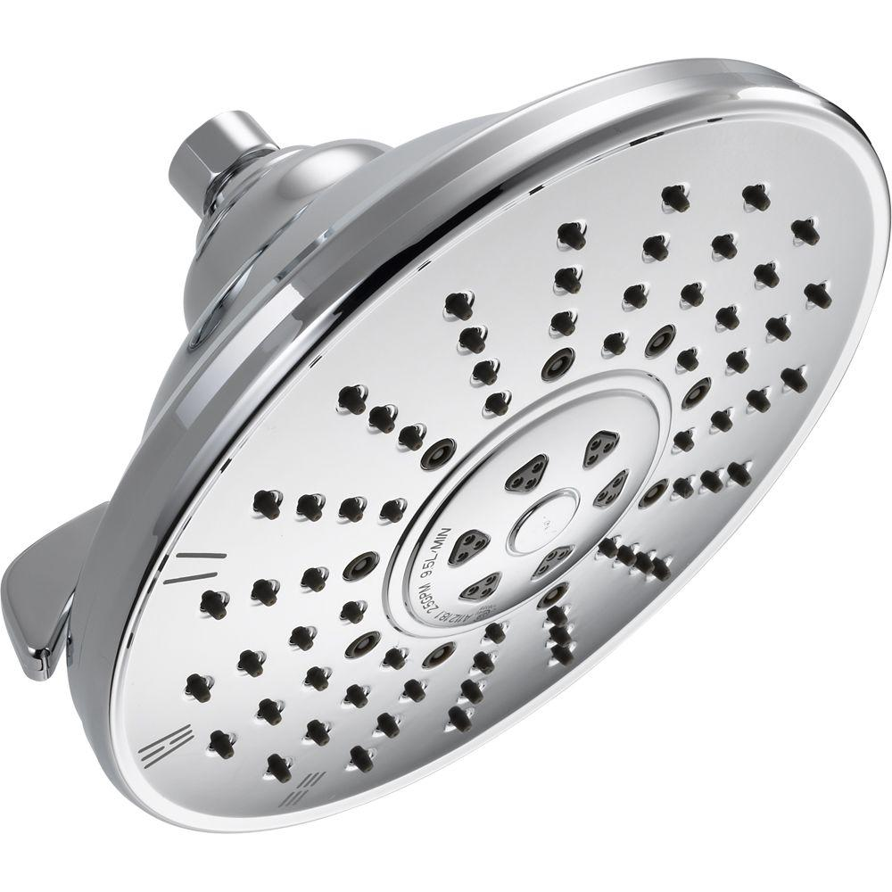 Delta 3-Spray 8.16 in. Fixed Showerhead in Chrome-52680 - The Home Depot