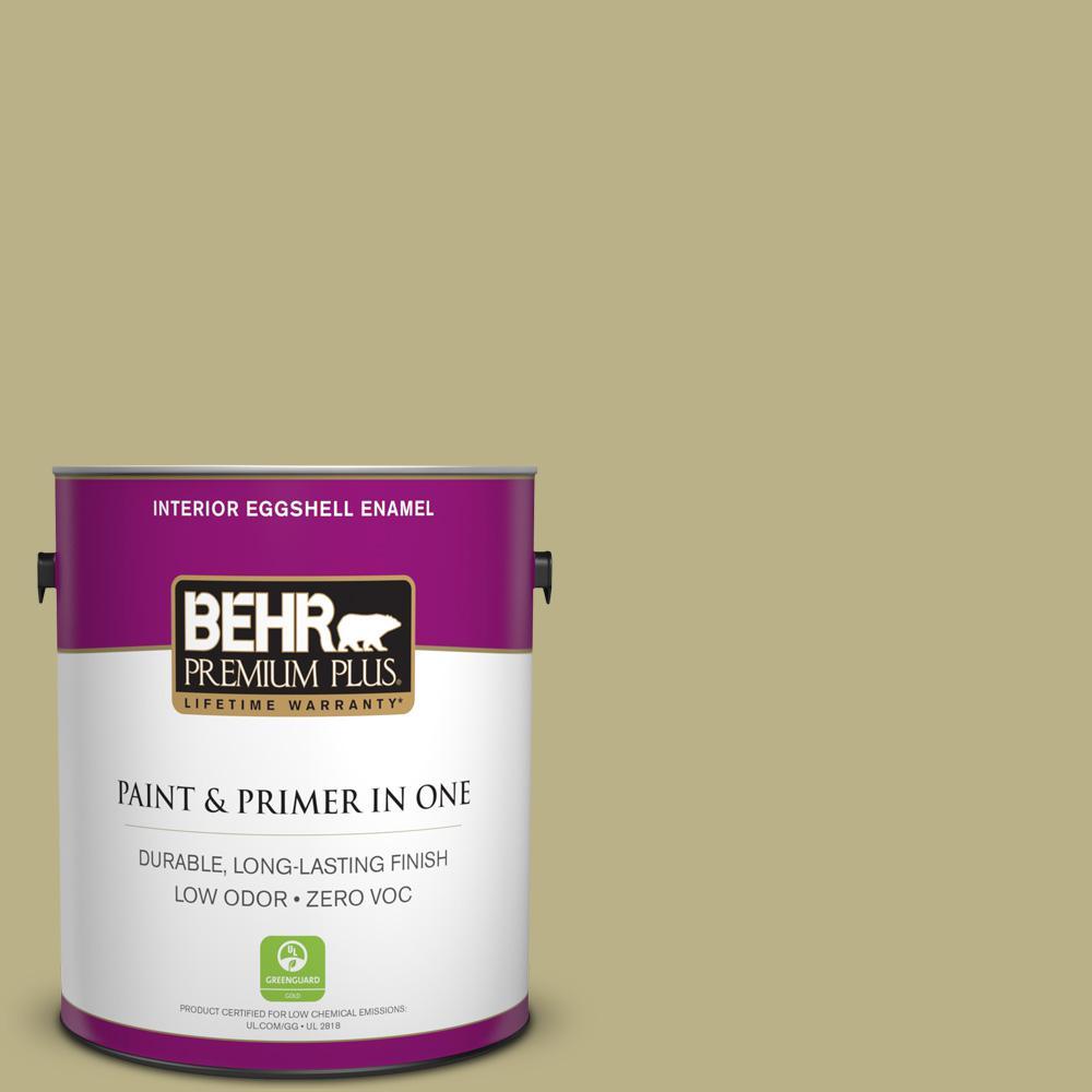 BEHR Premium Plus 1-gal. #390F-5 Ryegrass Zero VOC Eggshell Enamel Interior Paint